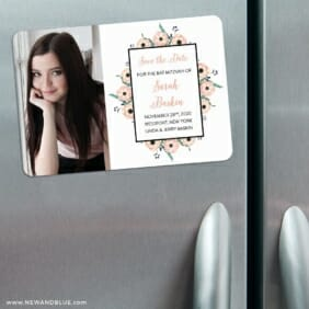 Flower Bat Mitzvah Nb 3 Refrigerator Save The Date Magnets