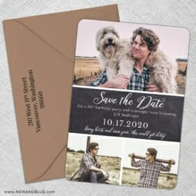 Union Square Birthday 5 Save The Date With Optional Color Envelope