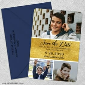 Union Square Bar Mitzvah 5 Save The Date With Optional Color Envelope