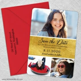 Union Square Bat Mitzvah 5 Save The Date With Optional Color Envelope