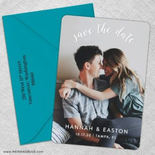 Curved Script 5 Save The Date With Optional Color Envelope