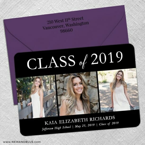 Graduation Collage 5 Save The Date With Optional Color Envelope