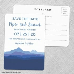 Blue Ridge Mountain Nb Save The Date Wedding Postcard Front And Back