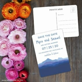 Blue Ridge Mountain Nb Save The Date Postcard With Back