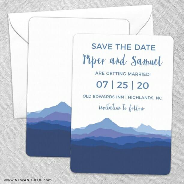 Blue Ridge Mountain Nb Save The Date Wedding Card
