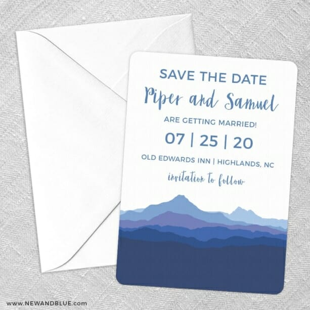 Blue Ridge Mountain Nb Save The Date Party Card