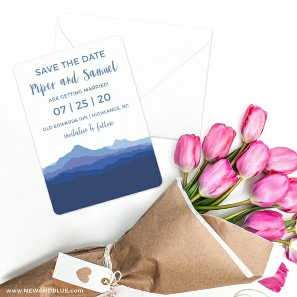 Blue Ridge Mountain Nb Save The Date Cards With Envelope