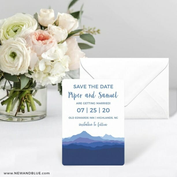 Blue Ridge Mountain Nb Save The Date Card With Envelope