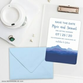 Blue Ridge Mountain Nb Save The Date Cards And Optional Color Envelopes