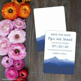 Blue Ridge Mountain Nb Save The Date Card With Back Printing