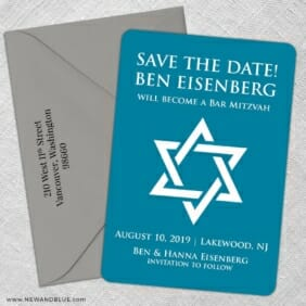 Star Of David Nb 5 Save The Date With Optional Color Envelope