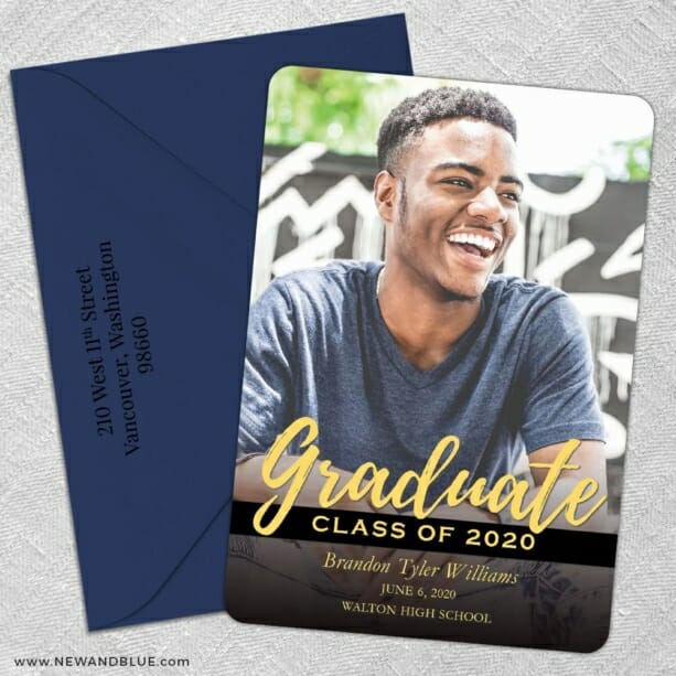 Modern Grad 5 Save The Date With Optional Color Envelope
