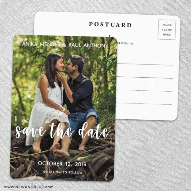 Bliss Save The Date Wedding Postcard Front And Back