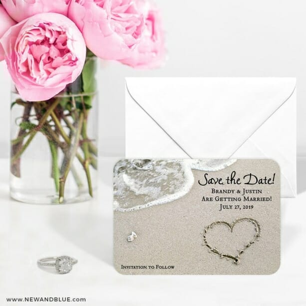 Heart On Beach Nb 6 Wedding Save The Date Magnets
