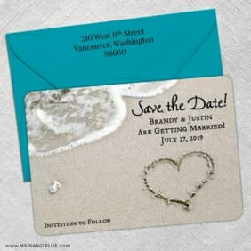 Heart On Beach Nb 5 Save The Date With Optional Color Envelope