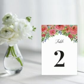 Bright Blooms In Red Table Sign For Wedding Reception