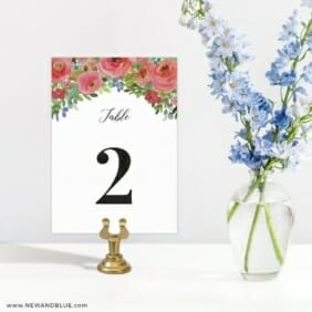 Bright Blooms In Red Table Number Sign