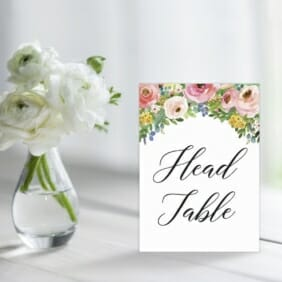 Bright Blooms Pink Table Sign For Wedding Reception