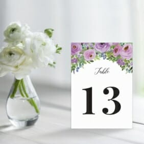 Bright Blooms Purple Table Sign For Wedding Reception