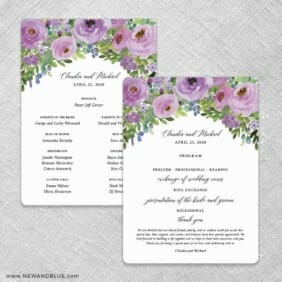 Bright Blooms Invitation Purple Wedding Program Front And Back No Stick