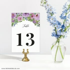 Bright Blooms Invitation Purple Table Number Sign