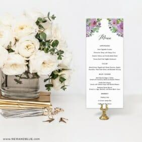 Bright Blooms Invitation Purple Menu For Wedding