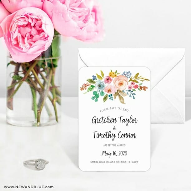 Watercolor Flowers 6 Wedding Save The Date Magnets