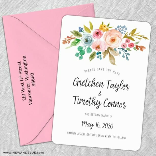 Watercolor Flowers 5 Save The Date With Optional Color Envelope