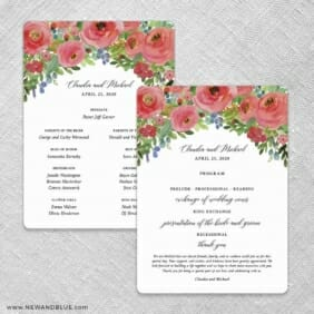 Bright Blooms Invitation Red Wedding Program Front And Back No Stick