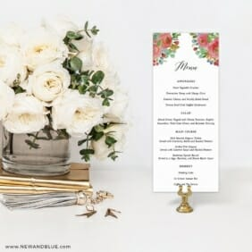 Bright Blooms Invitation Red Menu For Wedding