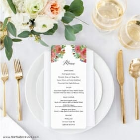 Bright Blooms Invitation Red Ceremony Menu On Placesetting