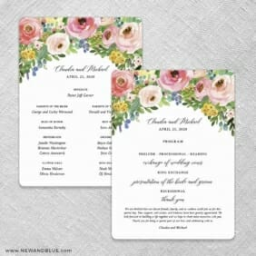 Bright Blooms Invitation Pink Wedding Program Front And Back No Stick