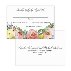 Bright Blooms Invitation Pink Rsvp Card With Printed Envelope