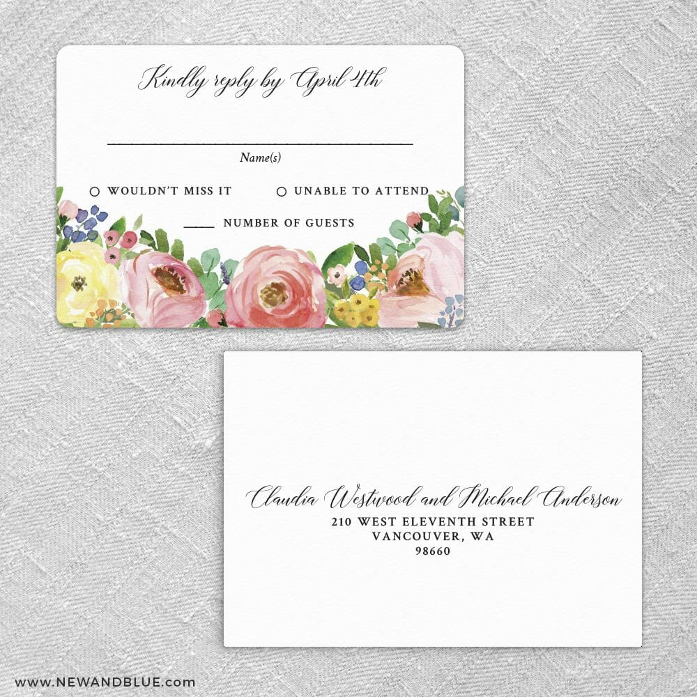 Bright Blooms Invitation Pink Rsvp Card And Envelope