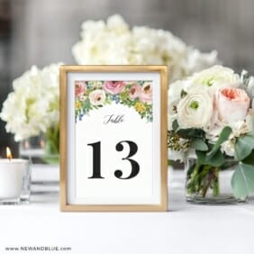Bright Blooms Invitation Pink Reception Table Number In Frame