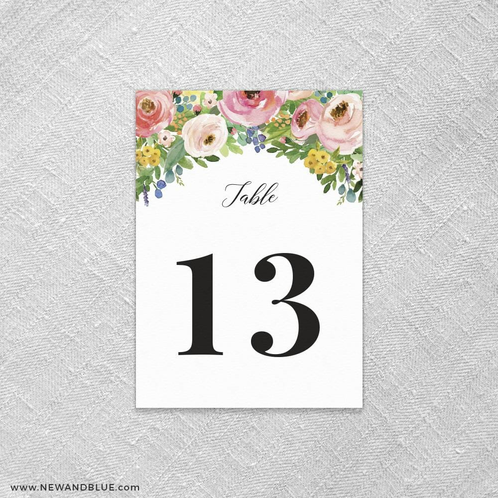 Bright Blooms Invitation Pink Reception Table Number