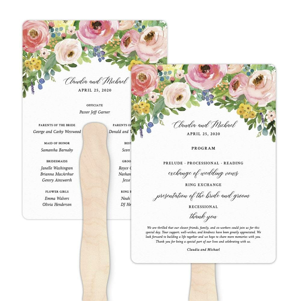 Bright Blooms Invitation Pink Program