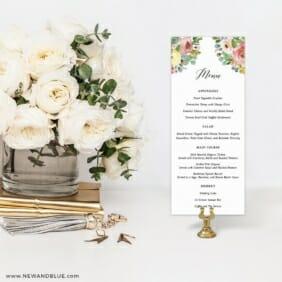 Bright Blooms Invitation Pink Menu For Wedding