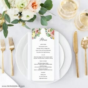 Bright Blooms Invitation Pink Ceremony Menu On Placesetting