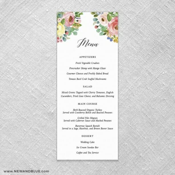 Bright Blooms Invitation Pink Ceremony Menu Card