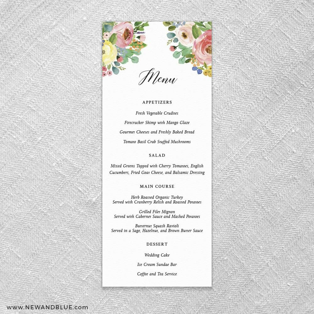 Bright Blooms Invitation Pink Ceremony Menu Card