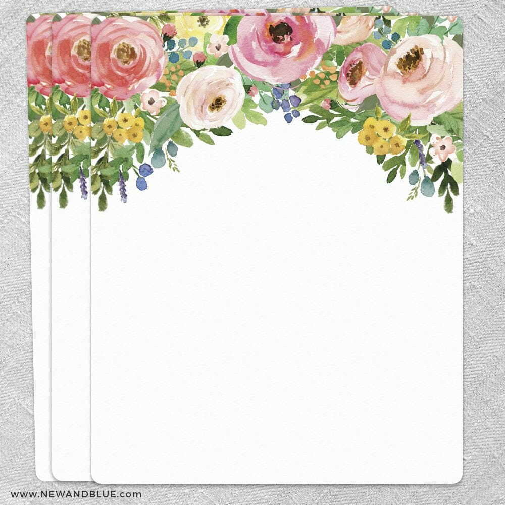 Bright Blooms Invitation Pink Blank Cardstock Quantity 3 Size 11 X 14