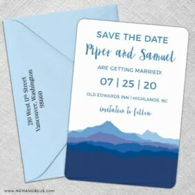 Blue Ridge Mountain Nb 5 Save The Date With Optional Color Envelope