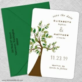 Wedding Tree Nb 5 Save The Date With Optional Color Envelope