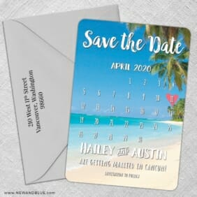Beach Calendar 5 Save The Date With Optional Color Envelope