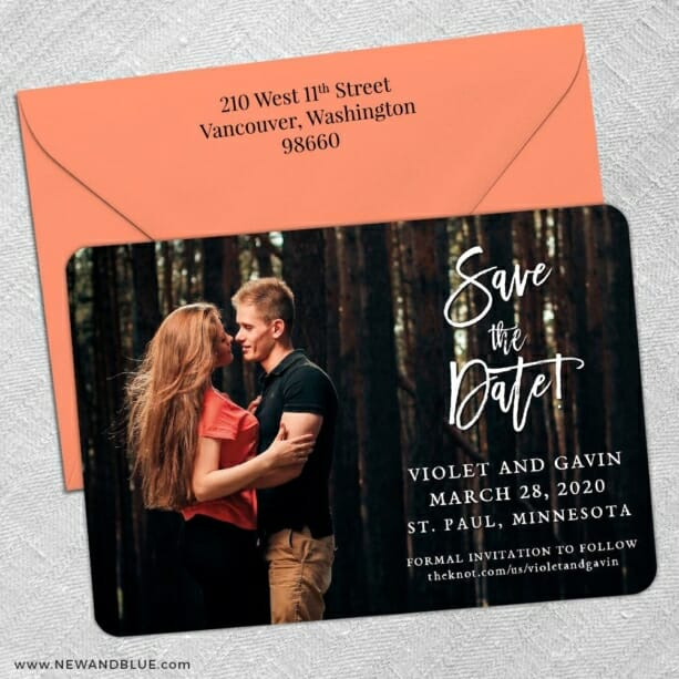 Enchanted Embrace 5 Save The Date With Optional Color Envelope