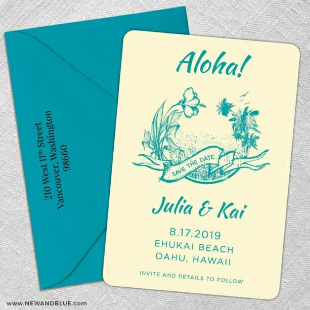 Aloha Nb 5 Save The Date With Optional Color Envelope