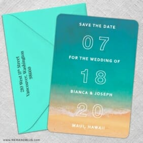 Classic Outline 5 Save The Date With Optional Color Envelope