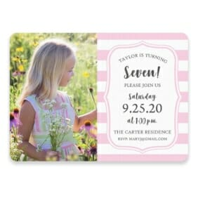 Birthday Stripes Save The Date Postcards