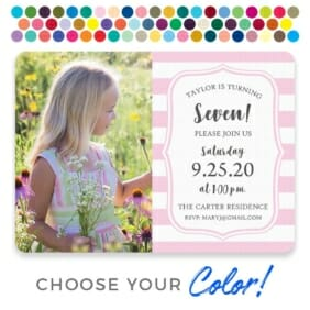 Birthday Stripes Save The Date Postcard Customizable Color